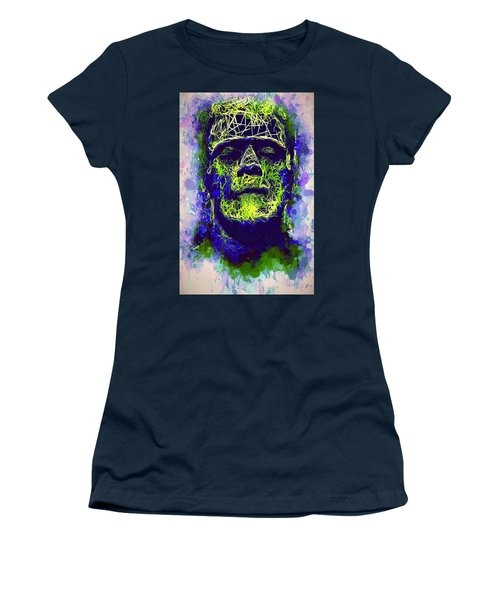 Women's T-Shirt featuring the mixed media Frankenstein Watercolor by Al Matra