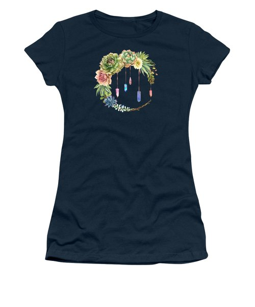 Crystal Crescent Moon With Lovely Succulents Women's T-Shirt