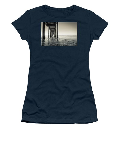Ellen Browning Scripps Memorial Pier Black And White Women's T-Shirt