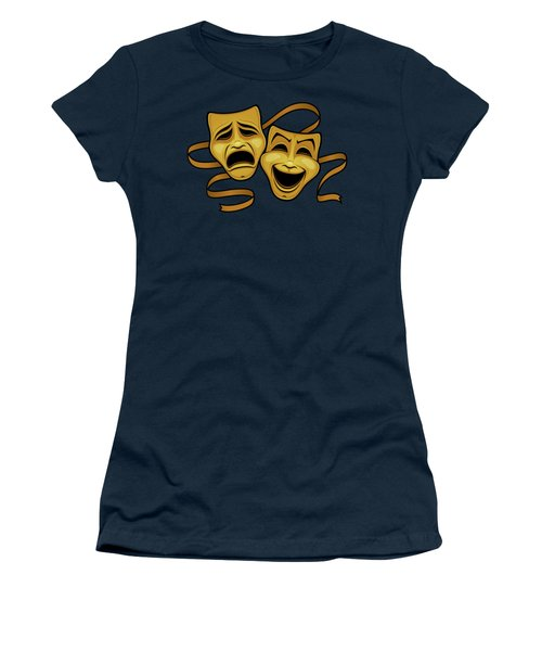 Gold Comedy And Tragedy Theater Masks Women's T-Shirt