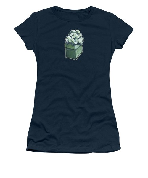 Women's T-Shirt featuring the painting Green Present by Maria Langgle