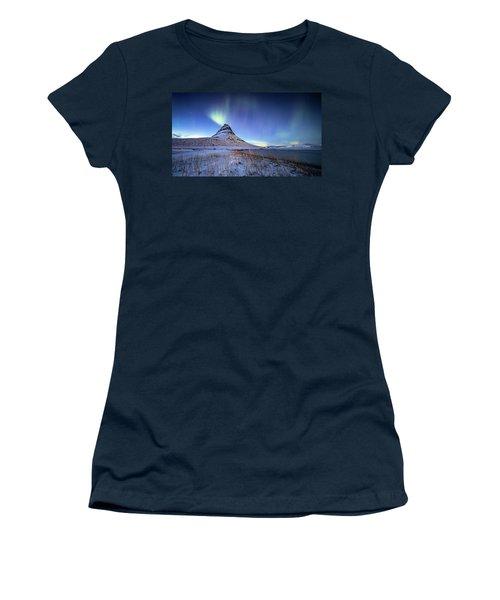 Northern Lights Atop Kirkjufell Iceland Women's T-Shirt