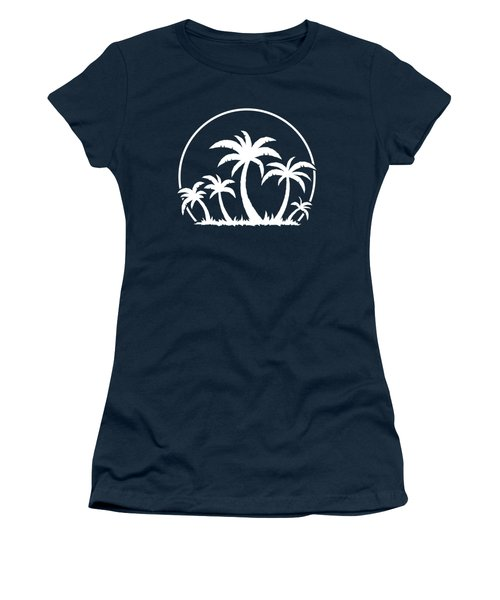 Palm Trees And Sunset In White Women's T-Shirt