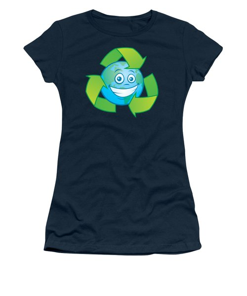 Planet Earth Recycle Cartoon Character Women's T-Shirt