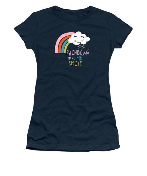 Rainbows Make Me Smile - Baby Room Nursery Art Poster Print Women's T-Shirt