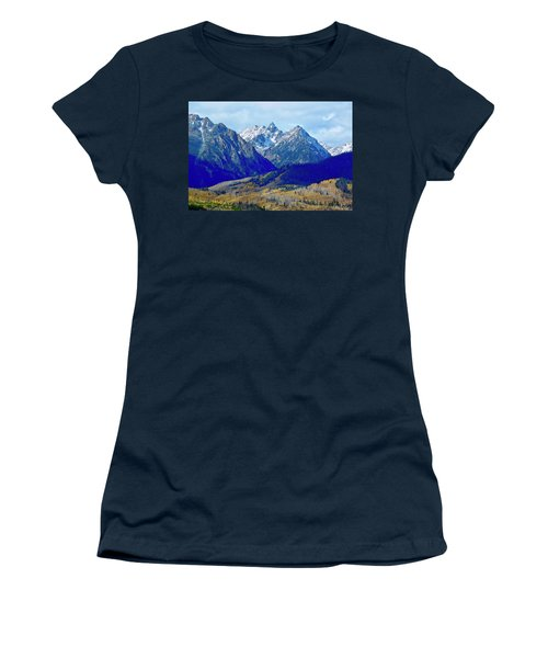 Women's T-Shirt featuring the photograph Rugged Peaks by Dan Miller