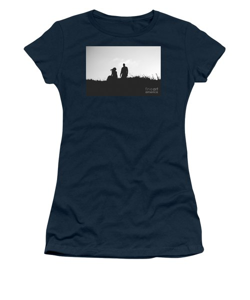 Silhouette Of Couple In Love With Wedding Couple On Top Of A Hil Women's T-Shirt