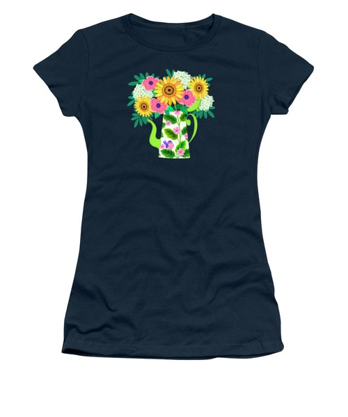 Summer Flowers In Coffee Pot Women's T-Shirt