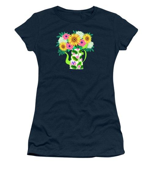 Summer Flowers In Coffee Pot Women's T-Shirt
