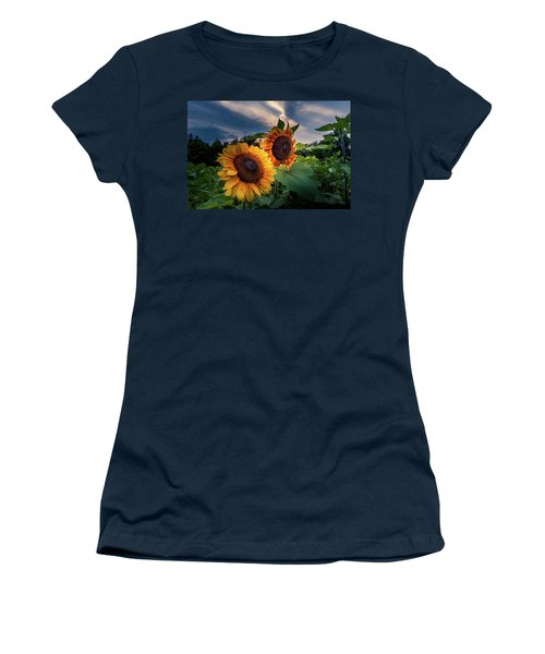Women's T-Shirt featuring the photograph Sunflowers In Evening by Allin Sorenson