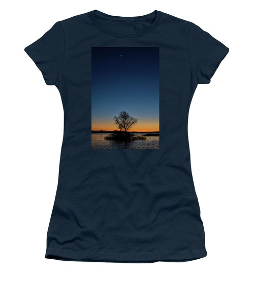 Sunset In The Refuge With Moon Women's T-Shirt