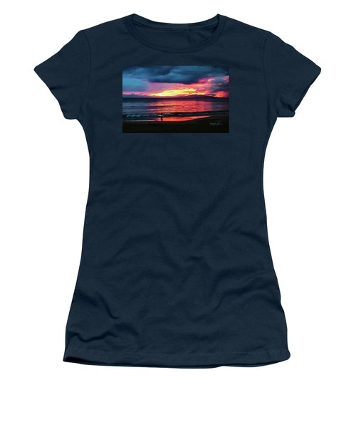 Sunset Surf At Maui Hawaii Women's T-Shirt