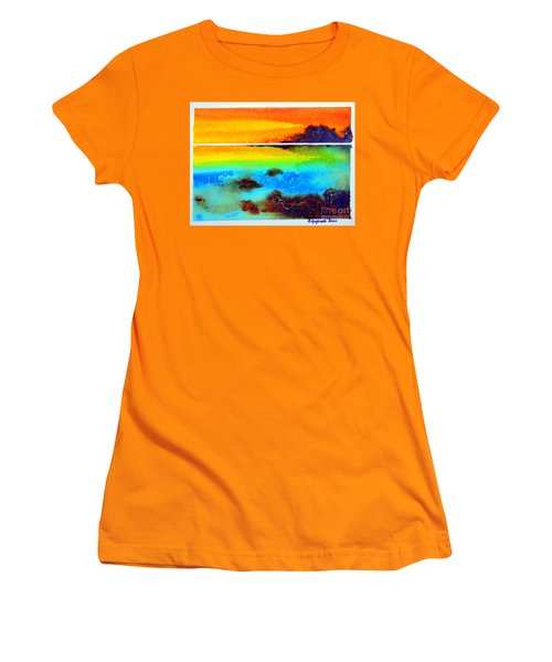 Women's T-Shirt (Junior Cut) featuring the painting  Western Australia Ocean Sunset by Roberto Gagliardi