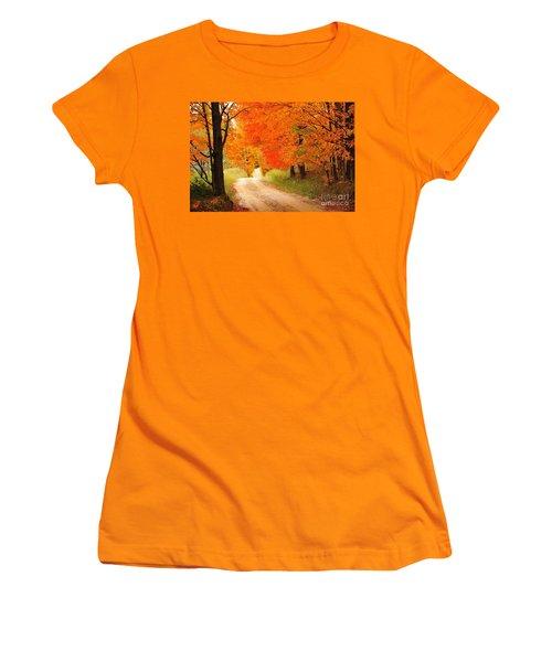 Women's T-Shirt (Junior Cut) featuring the photograph Autumn Trail by Terri Gostola