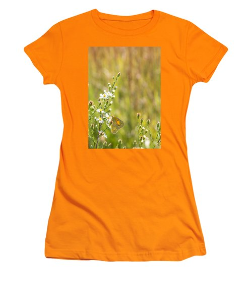 Butterfly In A Field Of Flowers Women's T-Shirt (Athletic Fit)