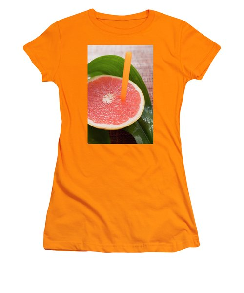 Half A Pink Grapefruit With A Straw Women's T-Shirt (Athletic Fit)