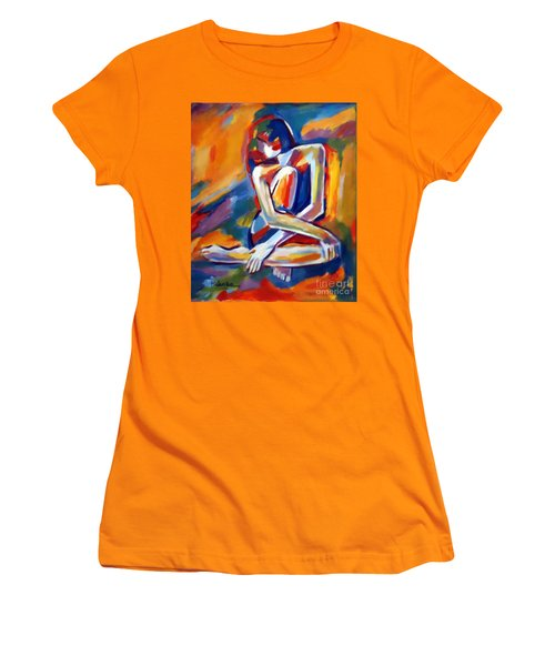 Women's T-Shirt (Junior Cut) featuring the painting Seated Figure by Helena Wierzbicki