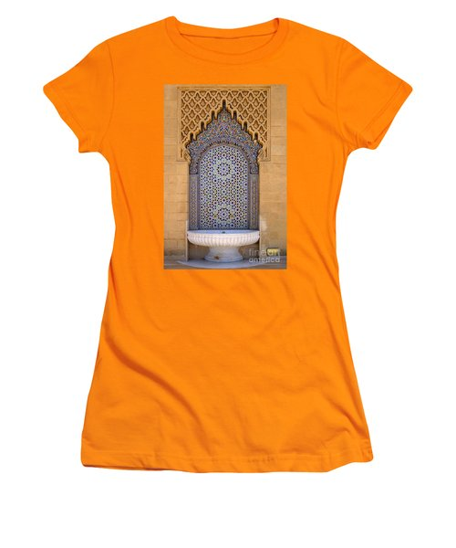 Women's T-Shirt (Junior Cut) featuring the photograph Water Fountain Mausoleum Of Mohammed V Opposite Hassan Tower Rabat Morocco  by Ralph A  Ledergerber-Photography
