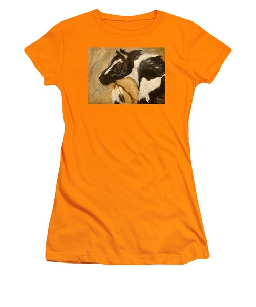 Women's T-Shirt (Junior Cut) featuring the painting Oxbow's Medicine Man by Barbie Batson