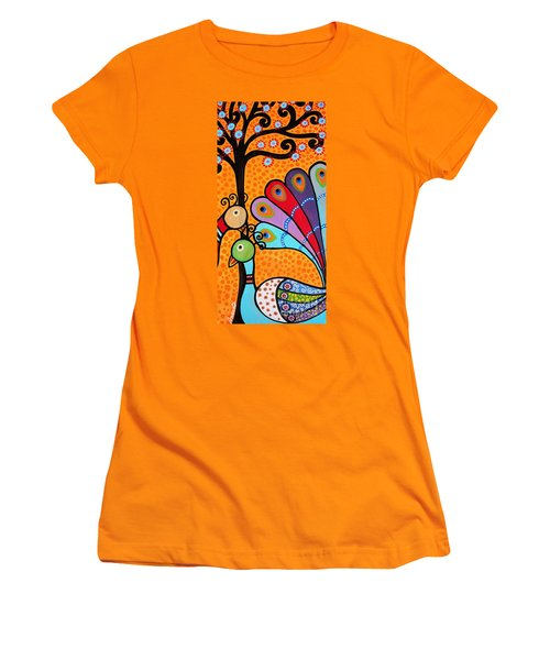 Women's T-Shirt (Junior Cut) featuring the painting 2 Peacocks And Tree by Pristine Cartera Turkus