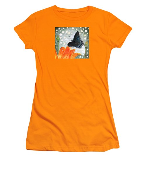 Women's T-Shirt (Junior Cut) featuring the painting A Garden Visitor by Angela Davies