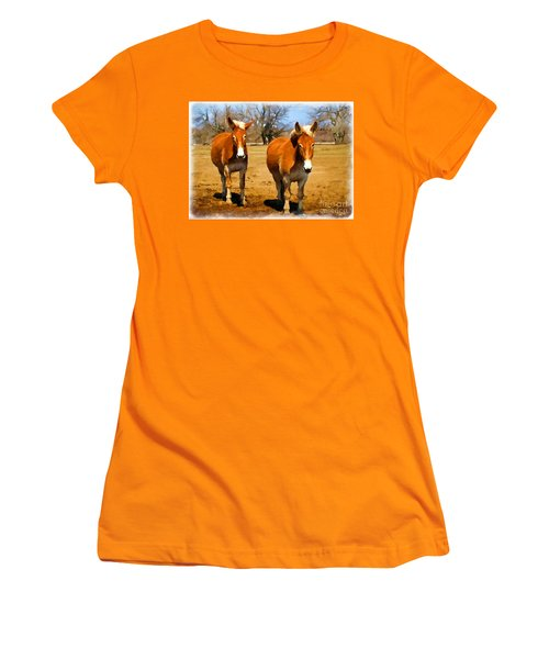 A Pair Of Mules  Digital Paint Women's T-Shirt (Athletic Fit)