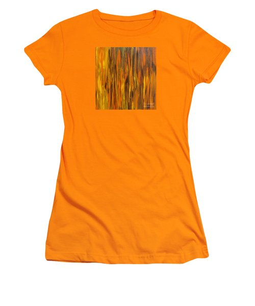 Women's T-Shirt (Junior Cut) featuring the painting Abstract Fireside by Susan  Dimitrakopoulos