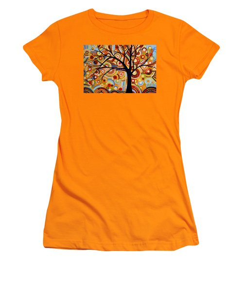 Women's T-Shirt (Junior Cut) featuring the painting Abstract Modern Tree Landscape Thoughts Of Autumn By Amy Giacomelli by Amy Giacomelli