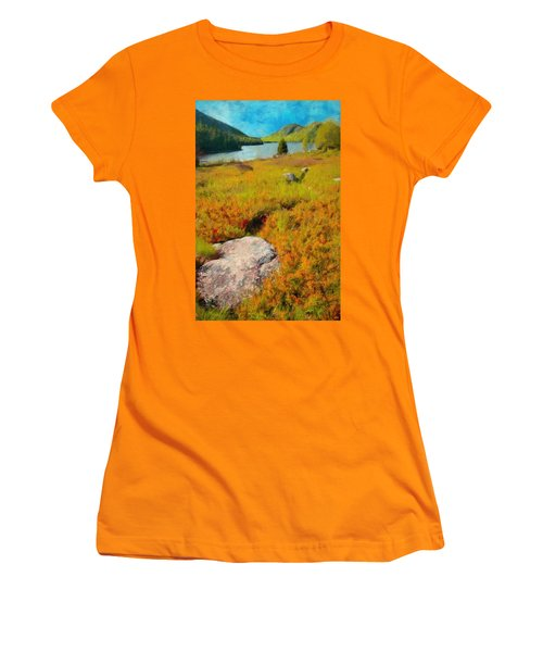 Women's T-Shirt (Junior Cut) featuring the painting Acadia Spring by Jeff Kolker