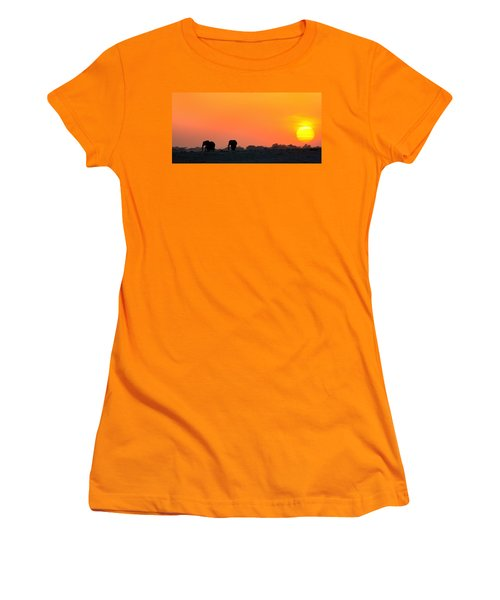 Women's T-Shirt (Junior Cut) featuring the photograph African Elephant Sunset by Amanda Stadther