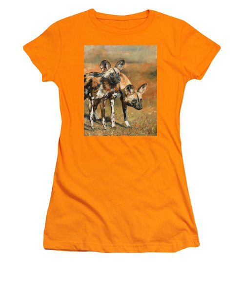 African Wild Dogs Women's T-Shirt (Athletic Fit)