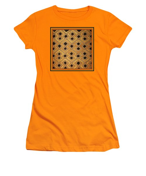 Women's T-Shirt (Junior Cut) featuring the digital art African Zaire Congo Kuba Textile by Vagabond Folk Art - Virginia Vivier