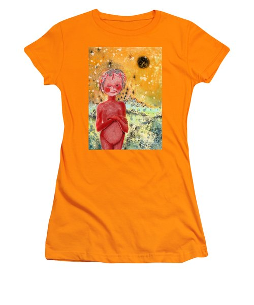 Women's T-Shirt (Junior Cut) featuring the painting Alien by Carol Jacobs