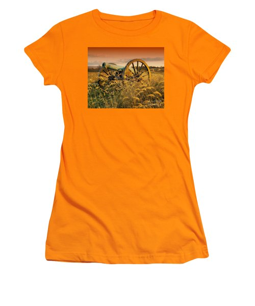 Women's T-Shirt (Junior Cut) featuring the photograph Antietam Maryland Cannon Battlefield Landscape by Paul Fearn