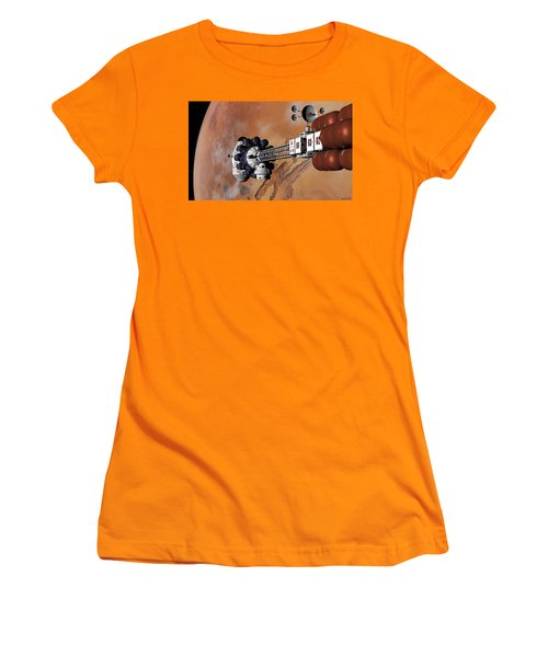 Women's T-Shirt (Junior Cut) featuring the digital art Ares1 Captured Over Valles Marineris by David Robinson