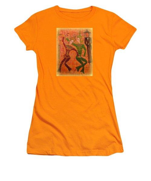 Women's T-Shirt (Junior Cut) featuring the painting Asian Dancers by Marie Schwarzer