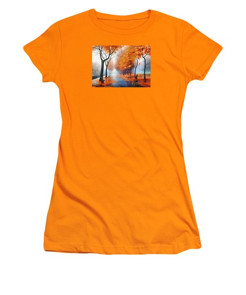 Women's T-Shirt (Junior Cut) featuring the photograph Autumn Boulevard by Charmaine Zoe