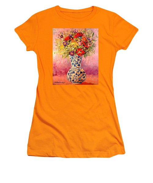 Women's T-Shirt (Junior Cut) featuring the painting Autumn Flowers by Ana Maria Edulescu