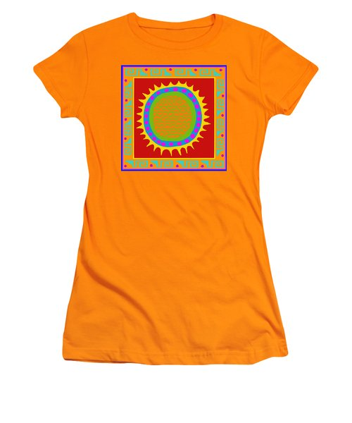 Women's T-Shirt (Junior Cut) featuring the digital art Aztec Del Sol by Vagabond Folk Art - Virginia Vivier