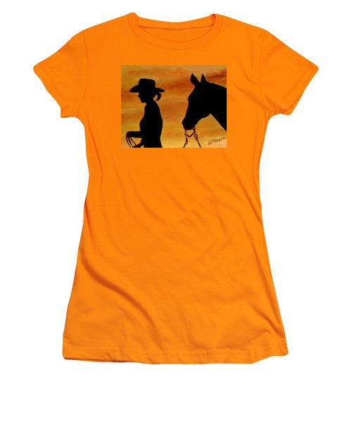 Women's T-Shirt (Junior Cut) featuring the painting Back To The Barn by Julie Brugh Riffey