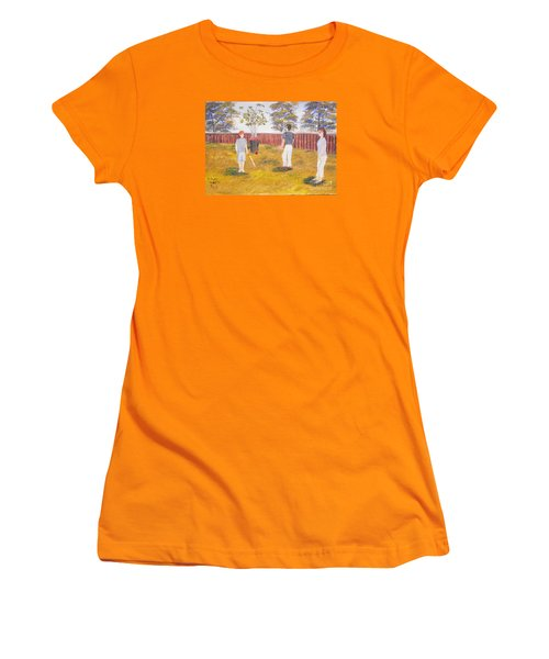 Women's T-Shirt (Junior Cut) featuring the painting Backyard Cricket Under The Hot Australian Sun by Pamela  Meredith