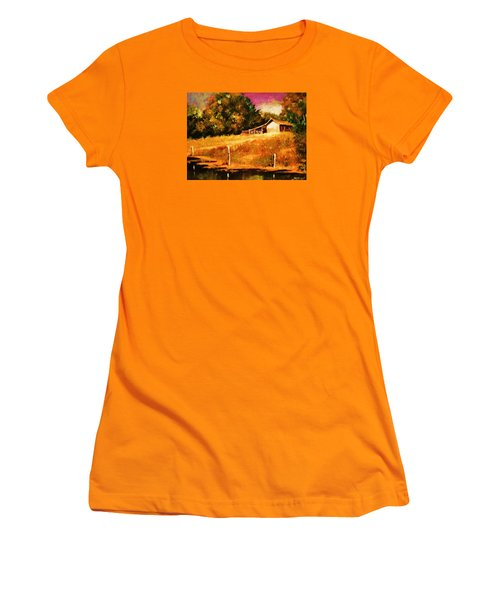Barn Above The Creekbed Women's T-Shirt (Athletic Fit)