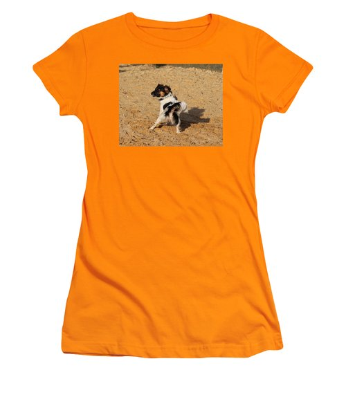 Beach Dog Pose Women's T-Shirt (Athletic Fit)