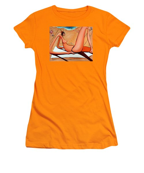 Women's T-Shirt (Junior Cut) featuring the painting Between The Flags by Leanne Wilkes