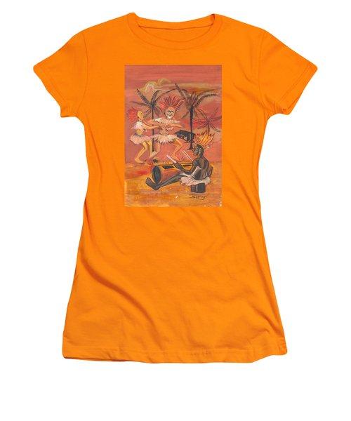 Bikutsi Dance From Cameroon Women's T-Shirt (Junior Cut) by Emmanuel Baliyanga