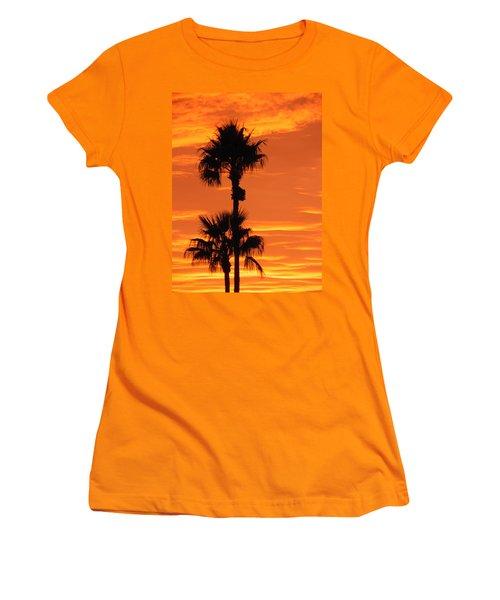 Women's T-Shirt (Junior Cut) featuring the photograph Blazing Sunset by Deb Halloran