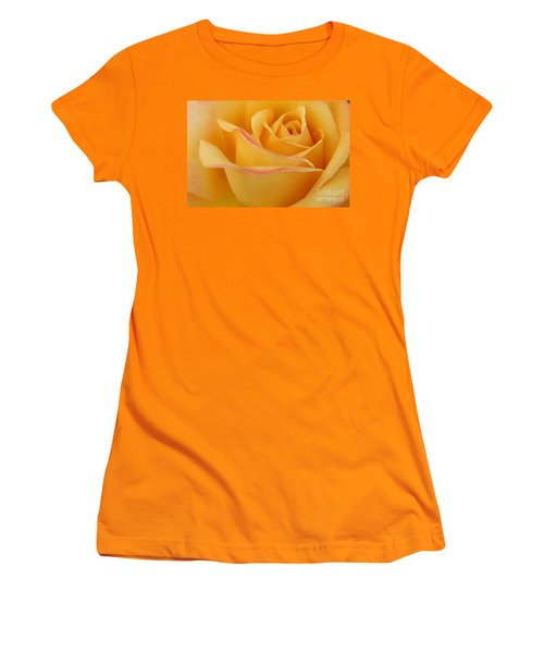 Blushing Yellow Rose Women's T-Shirt (Athletic Fit)