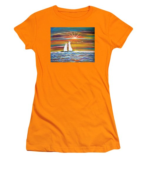 Boats At Sunset Women's T-Shirt (Athletic Fit)
