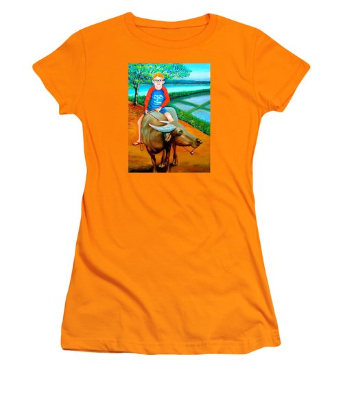 Boy Riding A Carabao Women's T-Shirt (Junior Cut) by Lorna Maza