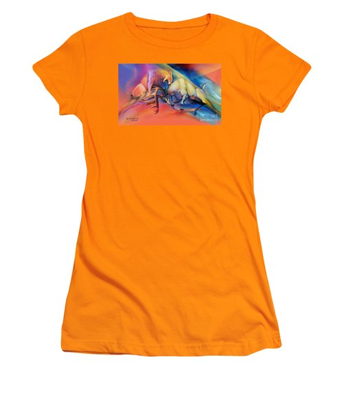 Women's T-Shirt (Junior Cut) featuring the painting Buck Off by Rob Corsetti